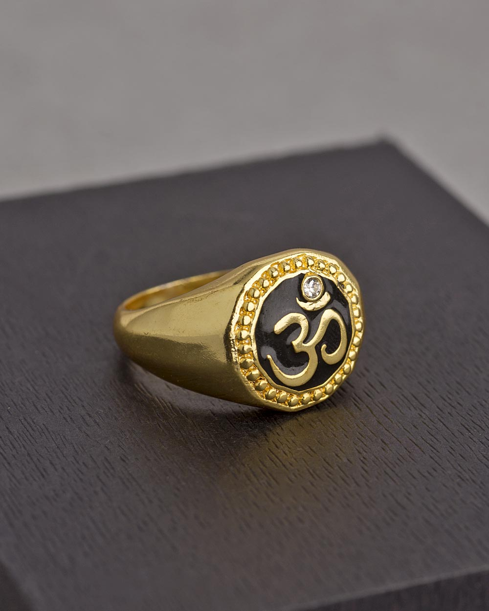 om gold pated mens ring
