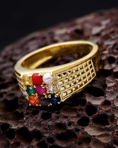 Mesh Patterned Navratan Ring