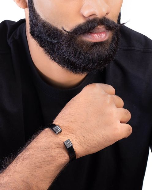 Cufflets Black Surface Men's Bracelet