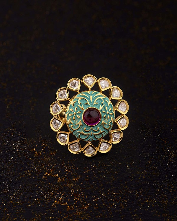 Kundan Stanza Enameled Cocktail Ring