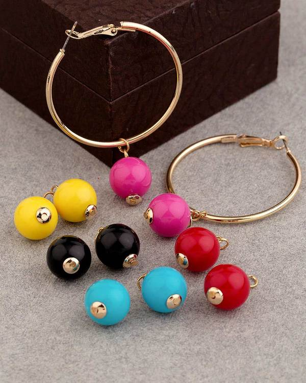 Teens Interchangeable Coloured Beads Earrings