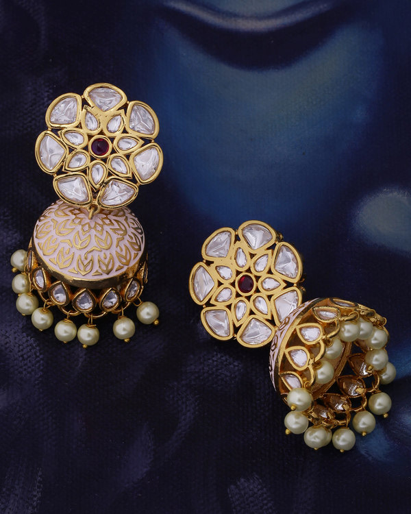 Udaipur Floral Kundan Gems Jhumka Earrings