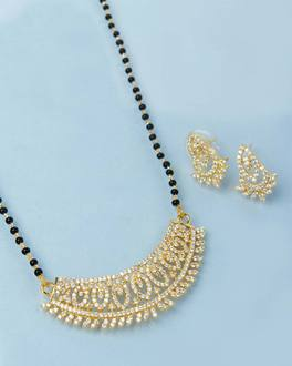 CZ Gold Marquise Pattern Mangalsutra