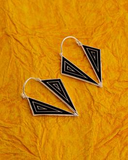 Bidri Triangles Drop Earrings