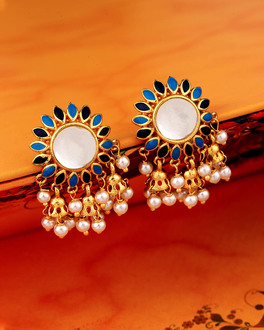 Khanak Jhumki Faux Pearls Stud Earrings