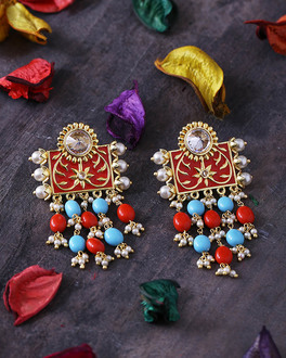 neeladri gems adorned drop style earrings-