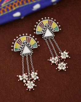 Rabaari Asymmetrical Enameled Drop Earrings