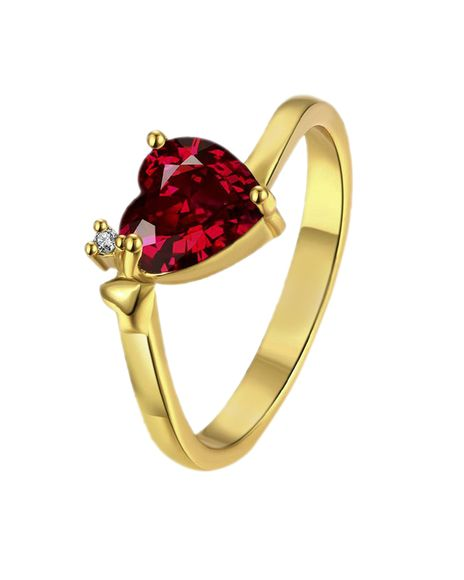 Voylla Gold Plated Heart Ring With Real Diamond Embellishments