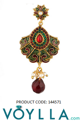 Gold Plated Dangler Earrings With Enamel Work And Colored Stones