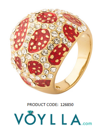 Traditional And Stylish Ring With Rhodium Polish And Red Dots, Bespangled With White Crystals