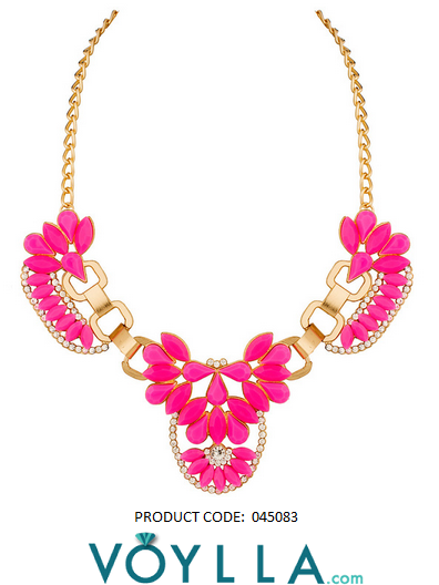Gold And Bright Pink Colored Floral Motif Neckpiece