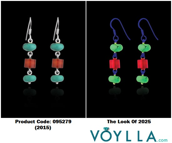 Beautiful Sterling Silver Dangler Earrings Adorned With Synthetic Turquoise And Synthetic Carnelian