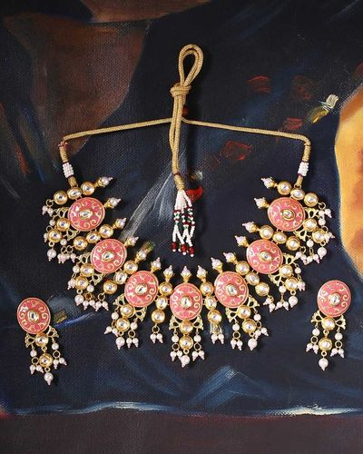 Manmayi Pearl Bunches Necklace Set