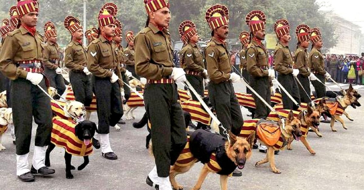 army dogs walk on republic day