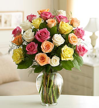 colored bunch roses