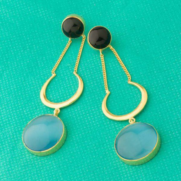 Moon Stone Gold Plated Dangler Earrings