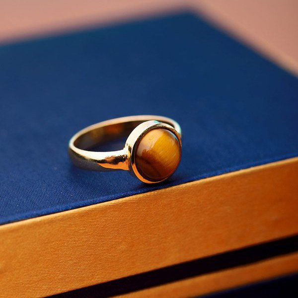 Tiger Eye Round Cut Stone Ring
