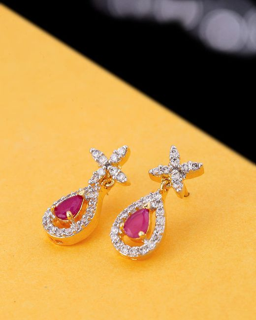 Voylla CZ White and Pink earrings