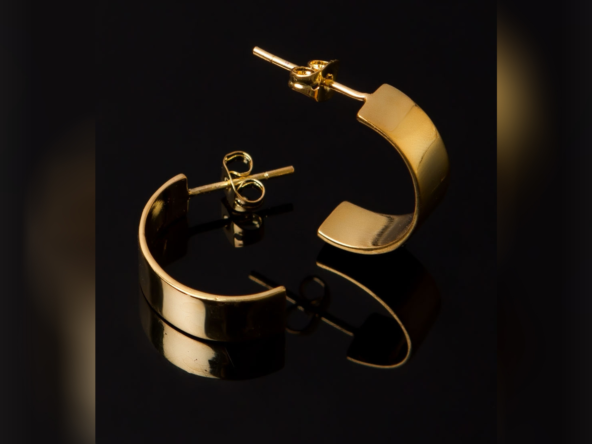Yellow Gold Plated Oddball Curved Earrings for Women