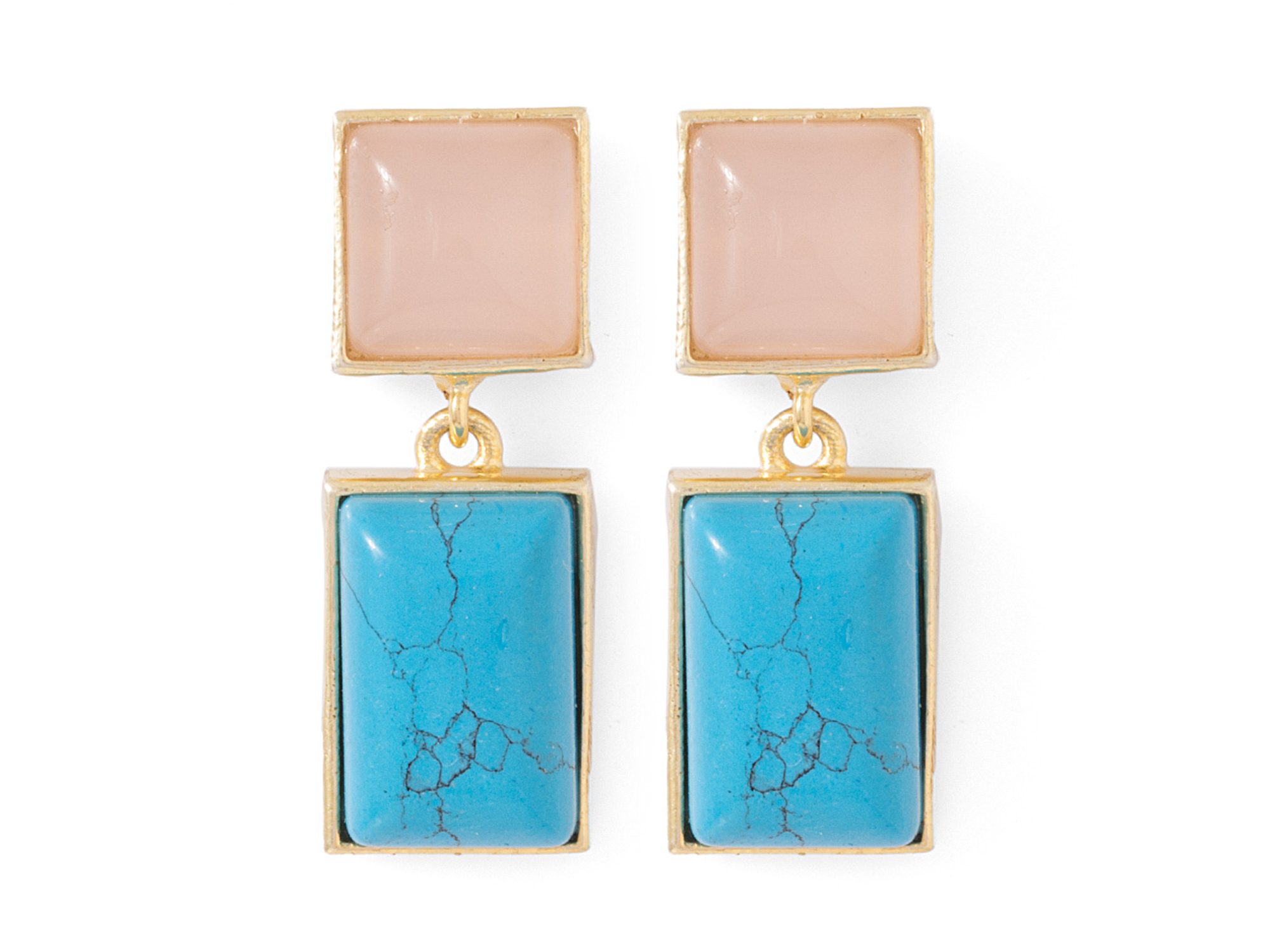 Blue-Pink Stones Adorned Gold Toned Stud Earrings