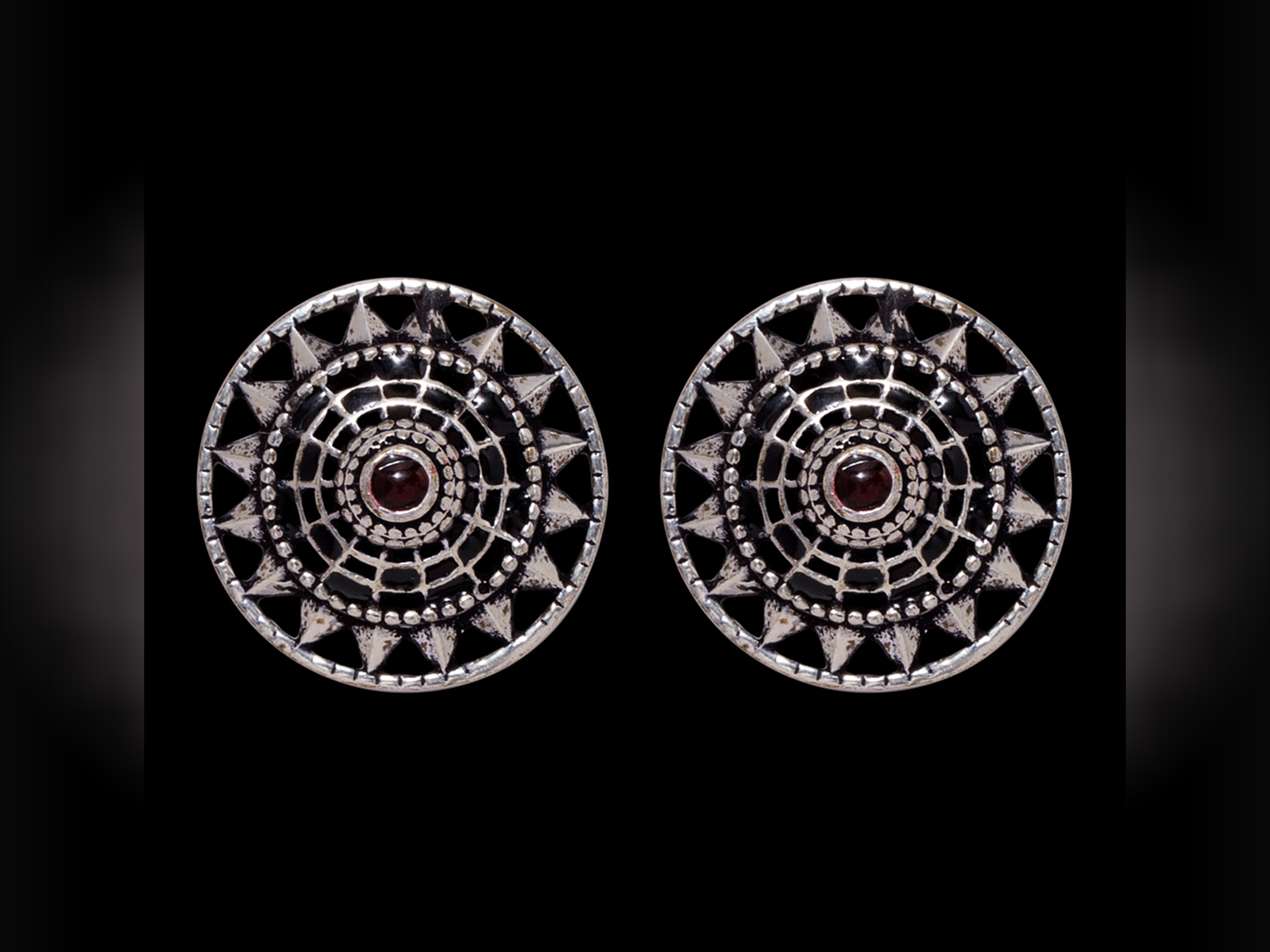 Brass and Silver Statement Earrings With Tribal Patterns