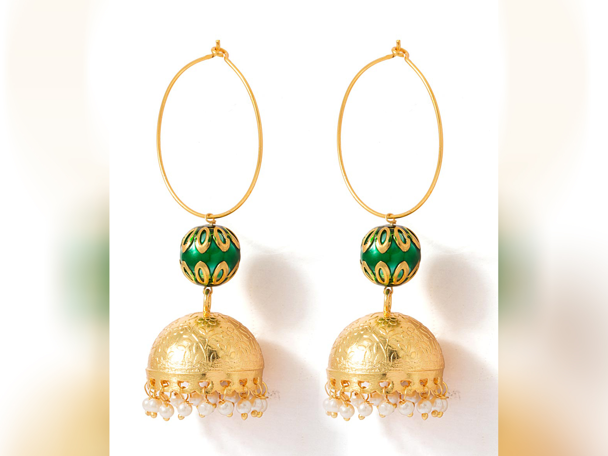 Gold Green Jhumkis With Pearls