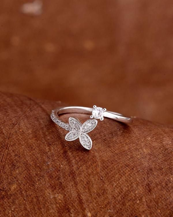 Voylla Butterfly Motif Silver Plated Ring