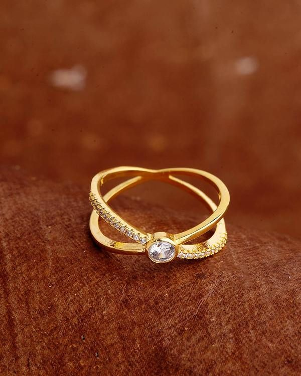 Voylla Gold Plated Band Style Ring