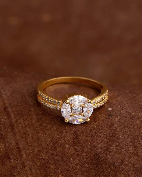 Voylla Solitaire Style Gem Adorned Ring