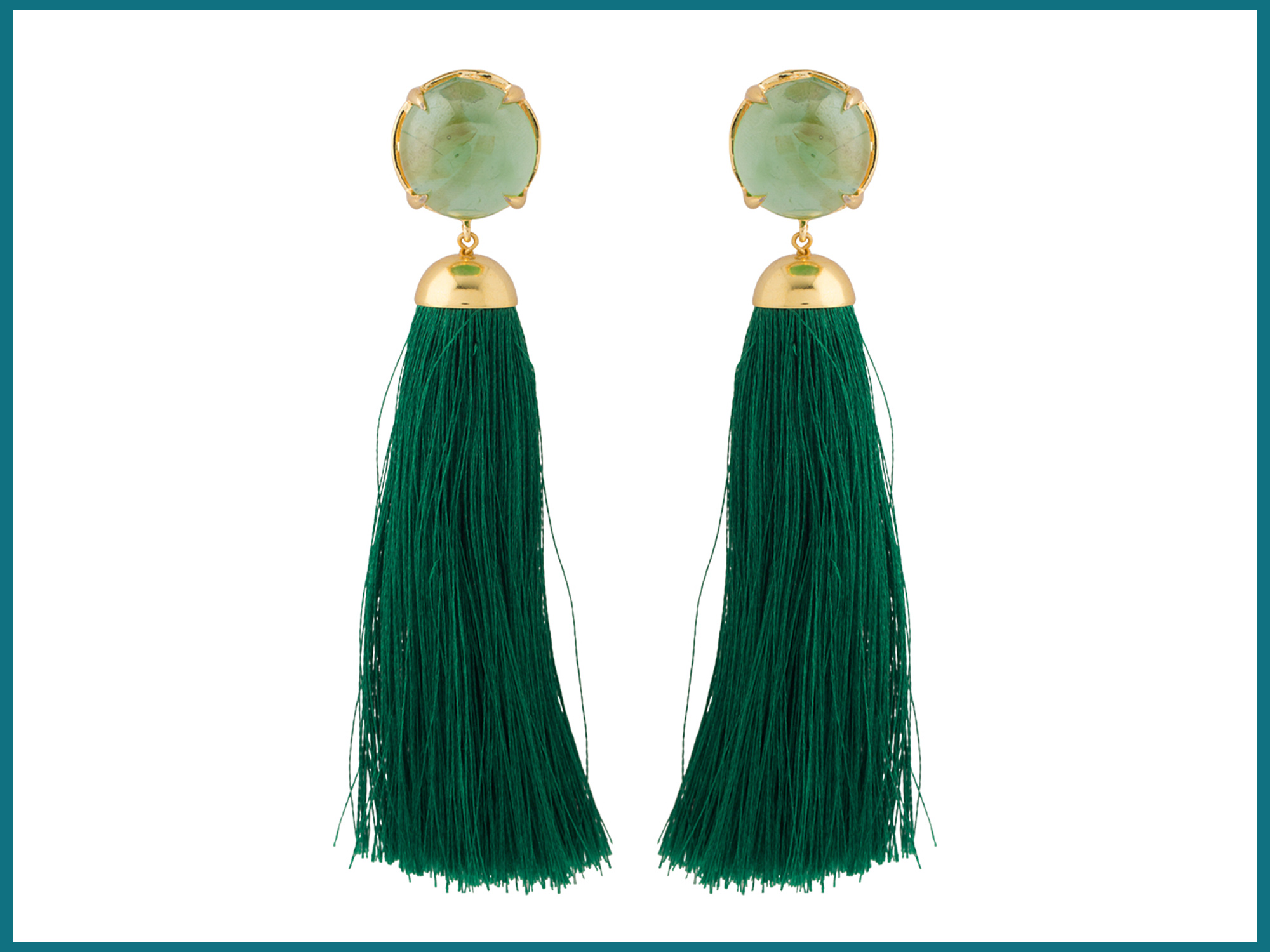 Green Stone Studded With Long Green Thread Tassels Danglers For Women