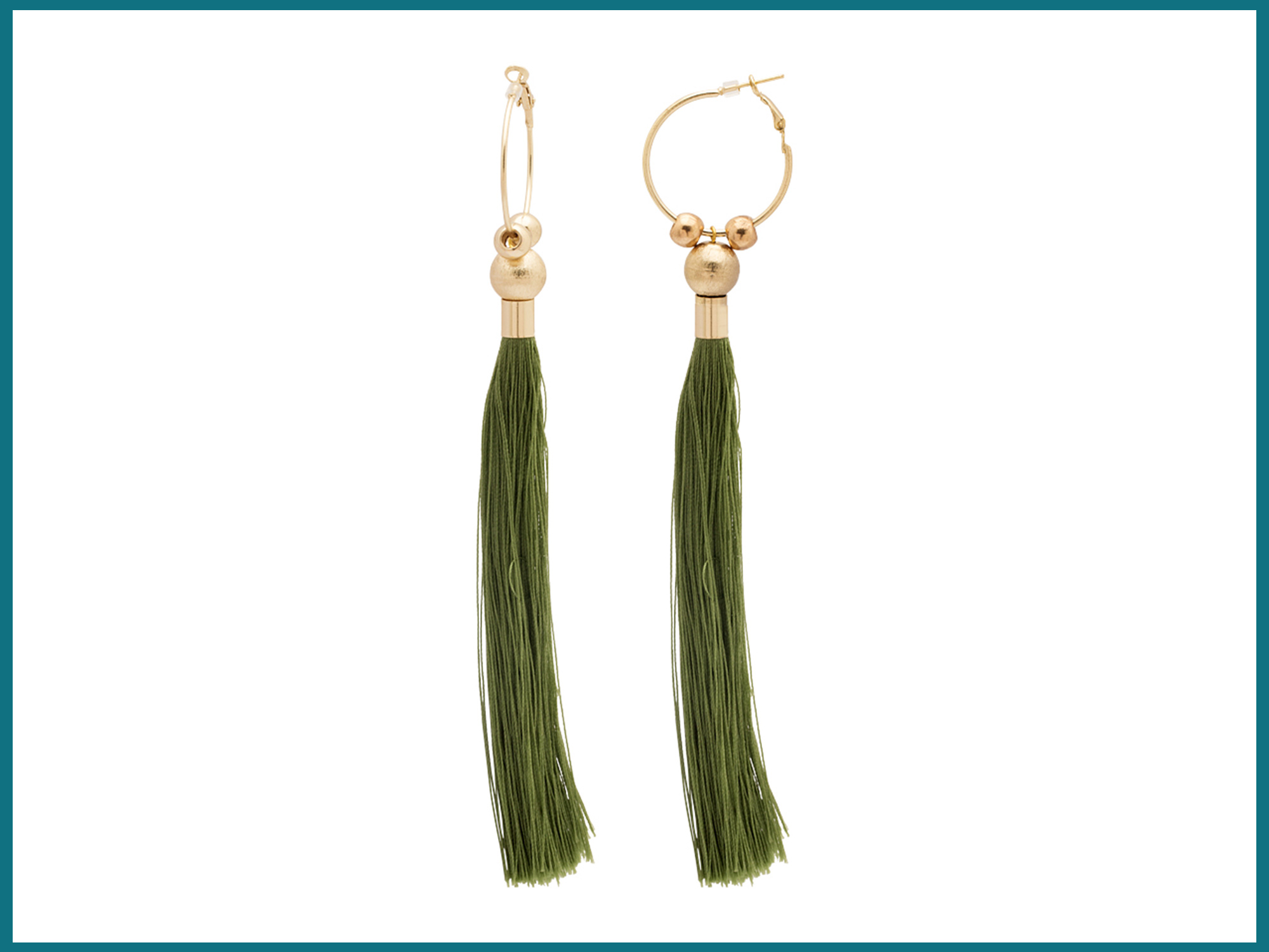 Golden Hoop Dangled With Green Threaded Tassel For Women