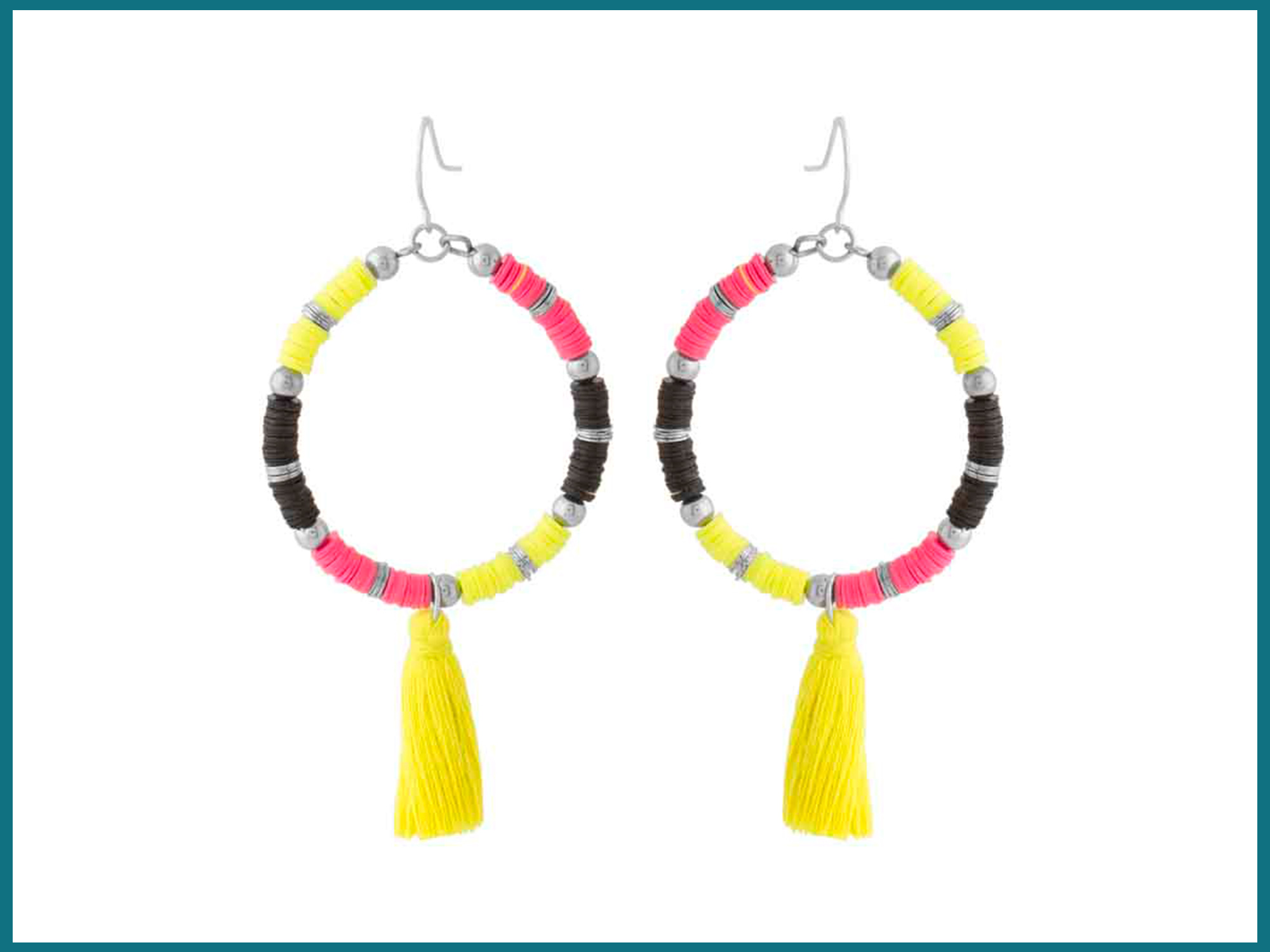 Neon Beads & Tassels Dangled Earrings For Women