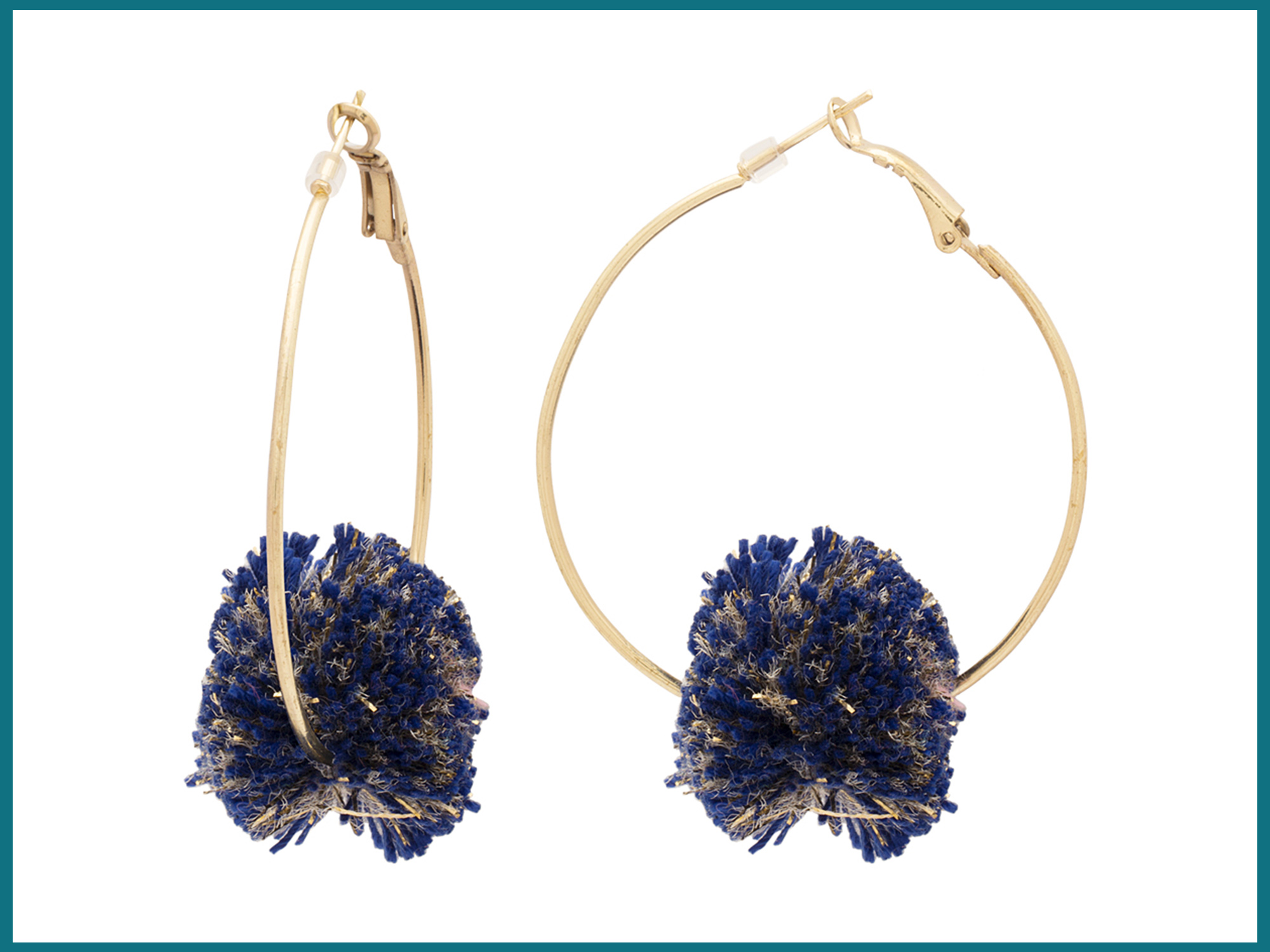 Blue & Golden Thread Ball Attached Hoop Earrings For Women
