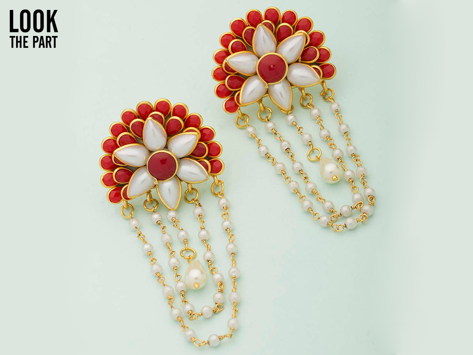 Navratri look Pacchi Danglers Graced With Red Stones & Pearl Beaded Chain
