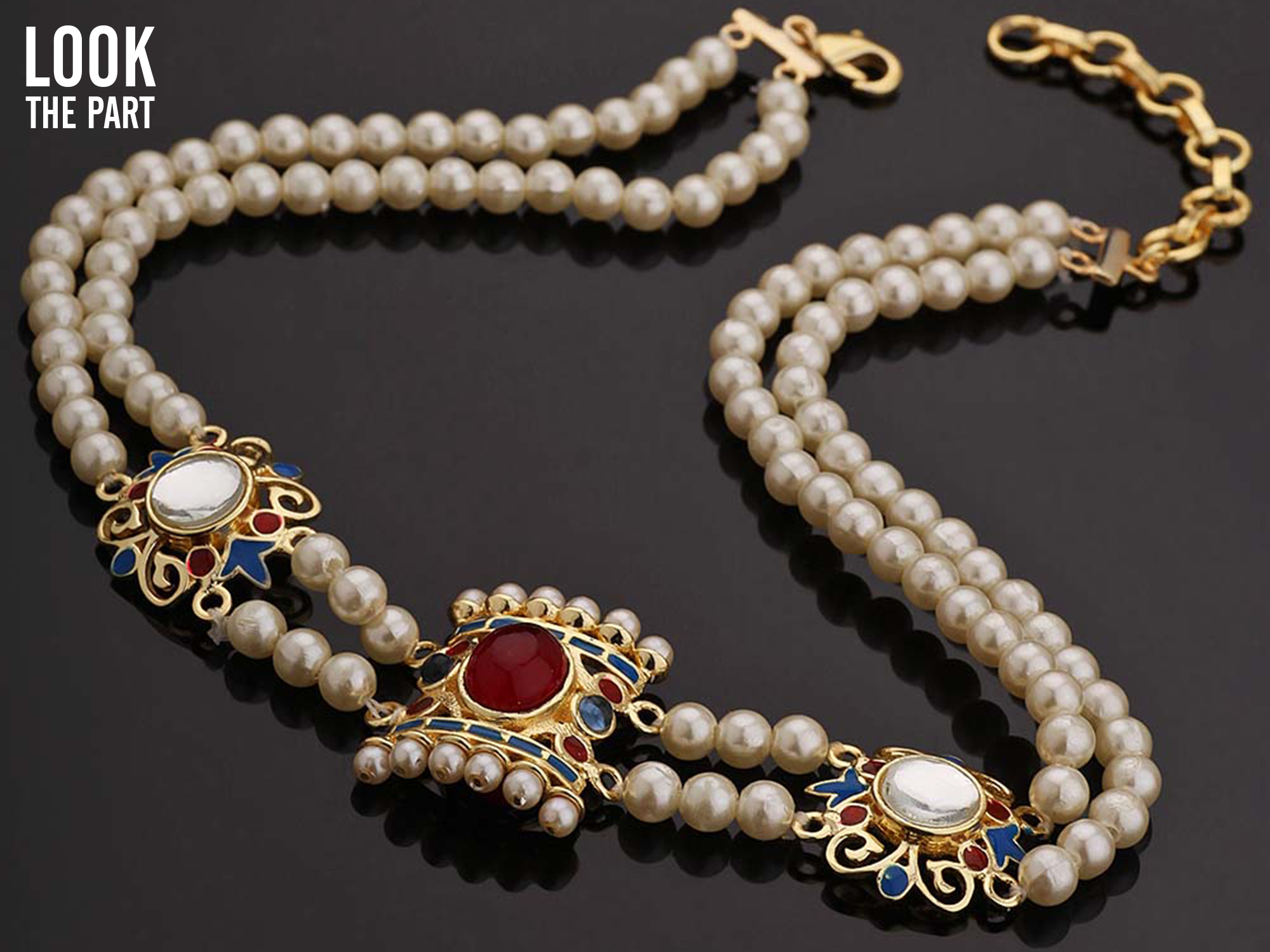 Amer Mirrors and Pearls Traditional Choker