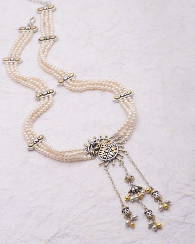 Pearl Beaded Chikankari-Inspired Necklace