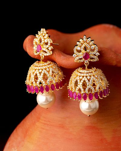 CZ Gems and Faux Pearls Jhumka Earrings