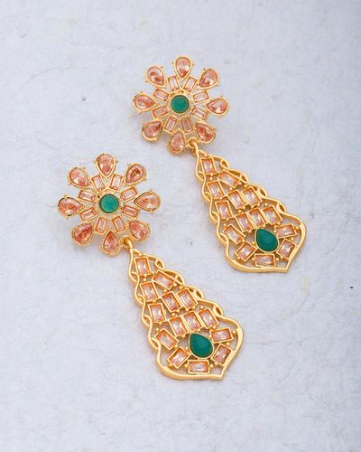 Designer Pair Of Earrings In Yellow Gold Plated For Women