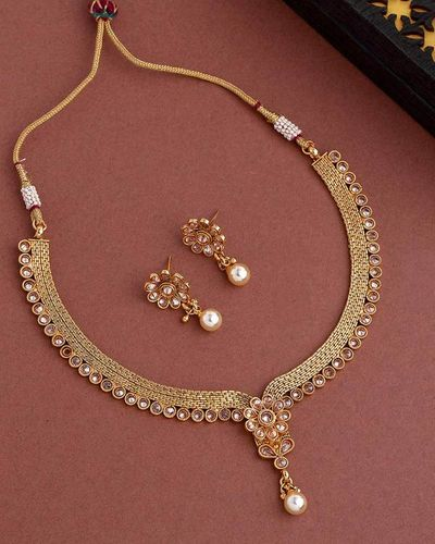 Golden Reprise Gold Plated Floral Necklace Set