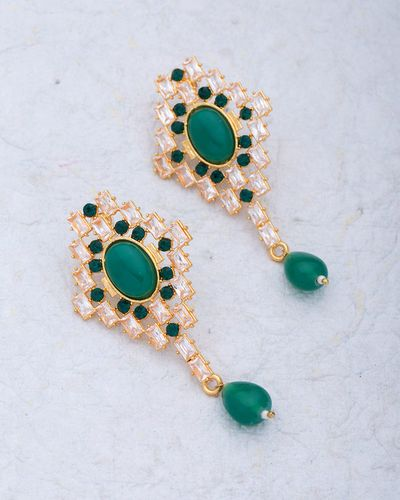 Green Stones Studded Dangler Earrings For Women