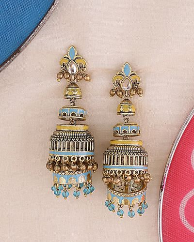 Gwalior Floral Motif Jhumka Earrings