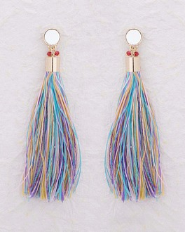 Beautiful Drop Earrings with Colorful Tassels