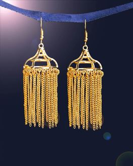 Golden Tassels Dome Earrings