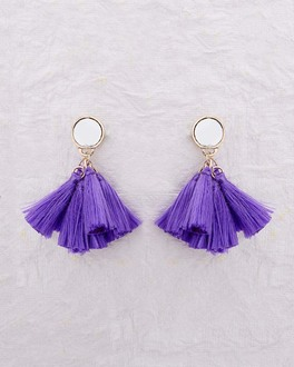 Purple Silk Tassel Dangler Earrings