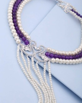 Purple & White Beaded Choker Necklace For Women