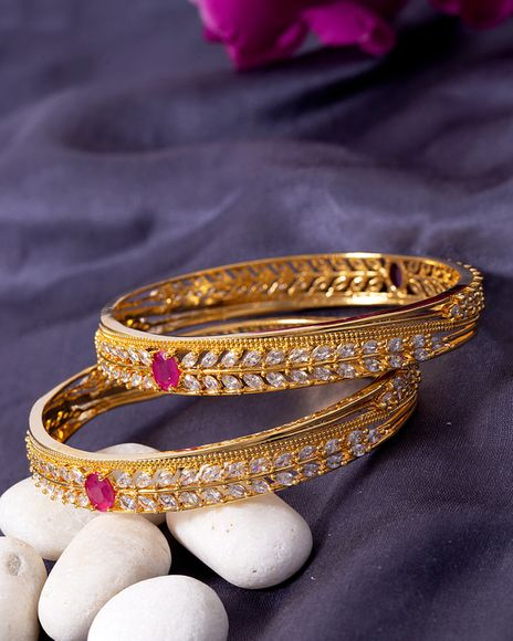 Voylla Classic Gold Plated Ethnic Bangles