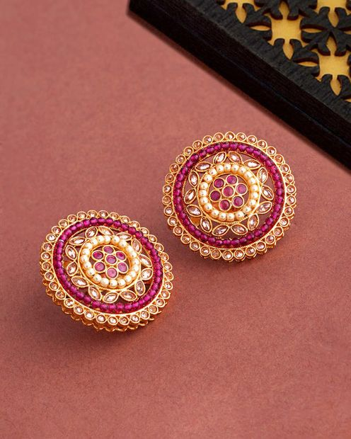Voylla Heavily Embellished Ethnic Stud Earrings