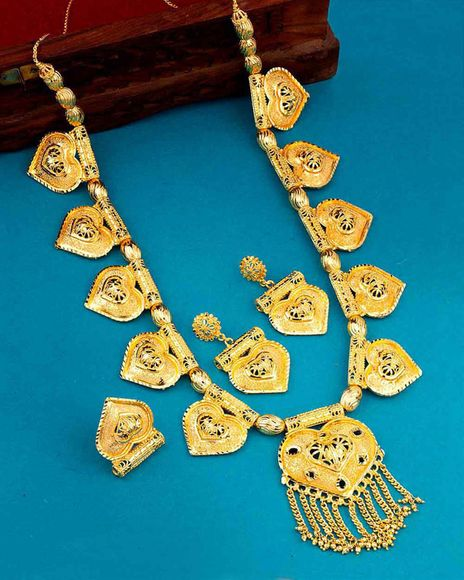 eastern delight hearts motif necklace set combo