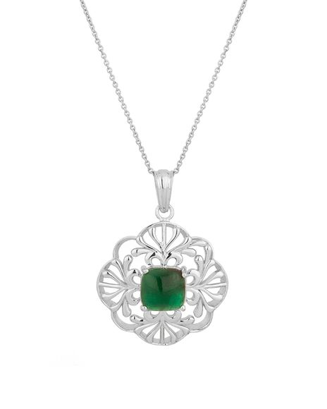 Voylla Genuine Emerald .925 Sterling Silver Pendant With Chain