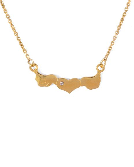 golden long necklace with heart charm